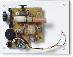 Radio Circuit Board And Components Acrylic Print by Dorling Kindersley/uig