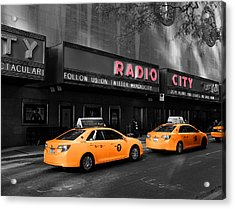 Radio City Music Hall And Taxis In New York City Acrylic Print by Dan Sproul