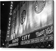 Radio City Music Hall Marquee Acrylic Print by Underwood Archives
