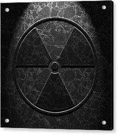 Acrylic Print featuring the digital art Radioactive Symbol Black Marble Texture by Brian Carson