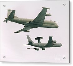 Acrylic Print featuring the photograph Raf Nimrod And Awac Aircraft by Paul Fearn