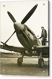 Raf Pilot With Spitfire Plane Acrylic Print by Underwood Archives