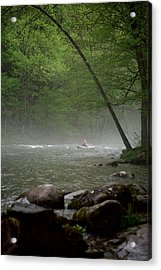 Rafting Misty River Acrylic Print
