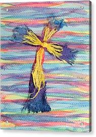Ragged Cross Acrylic Print by Pattie Calfy