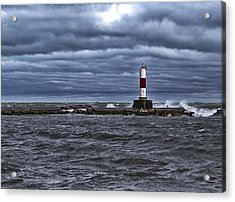 Acrylic Print featuring the photograph Raging Lake Michigan  by Ricky L Jones