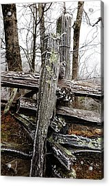 Rail Fence With Ice Acrylic Print