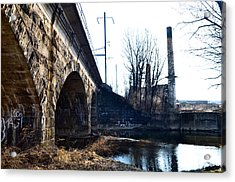 Rail Road Bridge Over The Brandywine Creek Downingtown Pa Acrylic Print by Bill Cannon