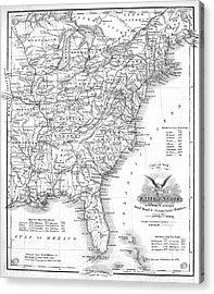 Railroad & Canal Map, 1863 Acrylic Print