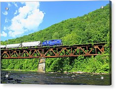 Railroad Bridge At Bardwells Ferry Deerfield River Acrylic Print by John Burk