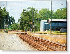 Railroad Crossing Brenham Texas Acrylic Print by Linda Phelps