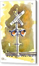 Railroad Crossing In Arcadia Acrylic Print