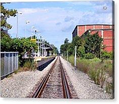 Railroad Depot At Cordage Park Acrylic Print by Janice Drew