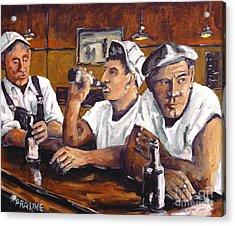 Railroad Men At The Bar By Prankearts Acrylic Print by Richard T Pranke