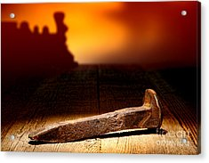 Railroad Spike Acrylic Print by Olivier Le Queinec