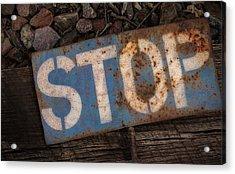 Railroad-stop Sign Acrylic Print by Joe Gemignani