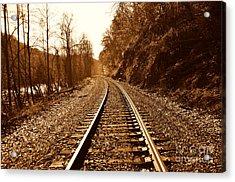 Railroad Track Acrylic Print by Cheryl Boutwell