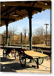 Railroad Wagons Acrylic Print by Denise Beverly