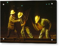 Acrylic Print featuring the photograph Railroad Workers by Mark Greenberg