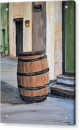Acrylic Print featuring the painting Rain Barrel by Debbie Baker