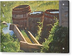 Rain Barrels With Watering Trough Acrylic Print by Len Stomski