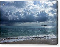 Rain Clouds At Waimanalo Acrylic Print by Leigh Anne Meeks