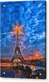 Rain Falling On The Eiffel Tower At Night In Paris Acrylic Print by Mark E Tisdale