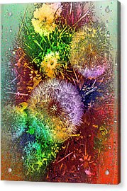 Acrylic Print featuring the pyrography Rain Flowers by Nico Bielow