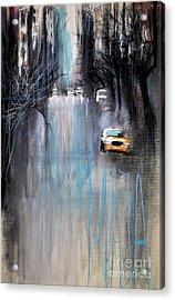 Acrylic Print featuring the drawing Rain In New York by Maja Sokolowska