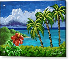 Acrylic Print featuring the painting Rain In The Islands by Tim Gilliland