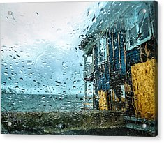 Rain On Rowing Club House Acrylic Print by Glenn Feron