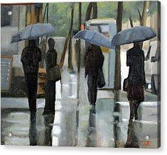 Rain On Saint Germain Acrylic Print