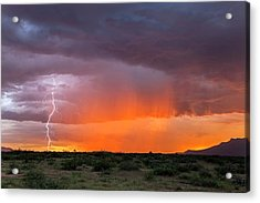 Rain Storm At Sunset Acrylic Print by Roger Hill