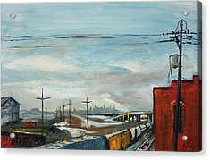 Acrylic Print featuring the painting Rain Train by Asha Carolyn Young