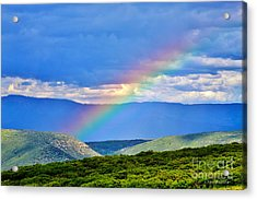 Rainbow Above The Canyon Acrylic Print by Janice Rae Pariza