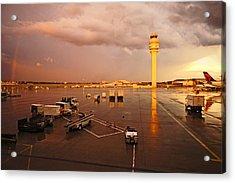Rainbow And Airport  Acrylic Print