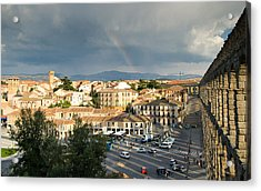 Rainbow And Ancient Aqueduct Acrylic Print by Viacheslav Savitskiy