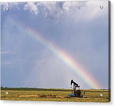 Rainbow And Oil Pump Acrylic Print by Rob Graham