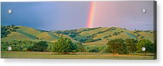 Rainbow And Rolling Hills In Central Acrylic Print by Panoramic Images