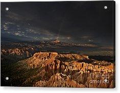 Rainbow And Thunderstorm Over The Paunsaugunt Plateau  Acrylic Print