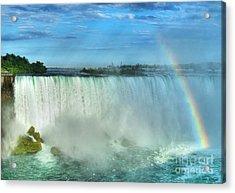 Rainbow At Niagara Acrylic Print by Mel Steinhauer