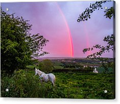 Rainbow At Sunset In County Clare Acrylic Print