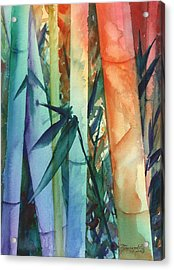 Acrylic Print featuring the painting Rainbow Bamboo 2 by Marionette Taboniar