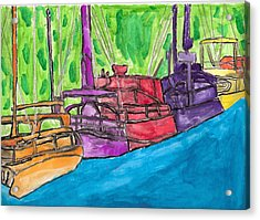 Acrylic Print featuring the painting Rainbow Boats by Artists With Autism Inc