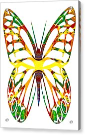 Rainbow Butterfly Abstract Nature Artwork Acrylic Print by Omaste Witkowski