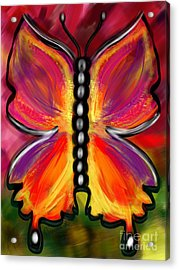 Rainbow Butterfly Acrylic Print by Christine Fournier