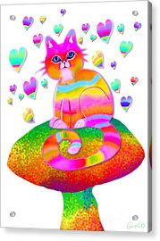 Rainbow Cat Hearts And Mushrooms Acrylic Print by Nick Gustafson