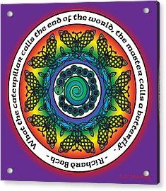 Rainbow Celtic Butterfly Mandala Acrylic Print