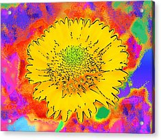 Acrylic Print featuring the painting Rainbow Colored Sunshine Flower- Because I'm Happy by David Mckinney