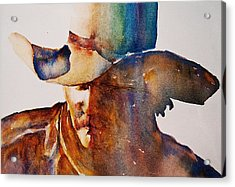 Acrylic Print featuring the painting Rainbow Cowboy by Jani Freimann