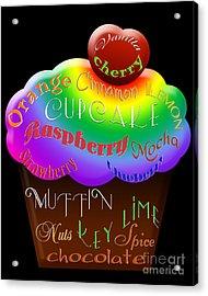 Rainbow Cupcake Typography Acrylic Print by Andee Design